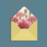 Envelope do convite com cravo da aquarela Foto de Stock Royalty Free