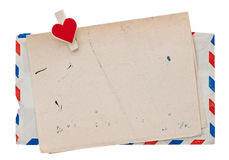 Envelope do correio aéreo do vintage. carta de amor retro do cargo Foto de Stock Royalty Free