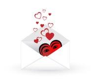 Envelope do correio com corações Imagens de Stock Royalty Free