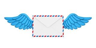 Envelope do correio das asas de voo ilustração do vetor