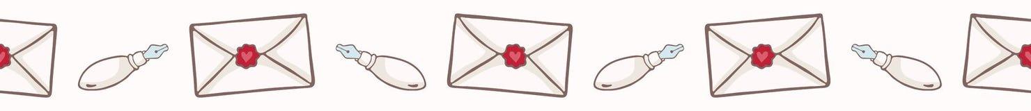 Envelope do vetor com selo da cera do coração Beira sem emenda do vetor ilustração royalty free