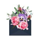 Envelope do vetor Flores da anêmona Arte do corte do papel Inscrição abril logo Imagem de Stock