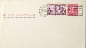 Envelope do vintage dos EUA a Europa em 1939 Imagens de Stock