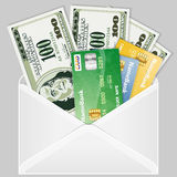 Envelope with Dollar Bills and Credit Cards Royalty Free Stock Photos