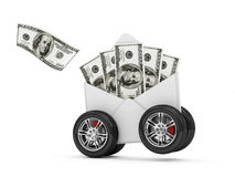 Envelope with Dollar Bills on Wheels Stock Image