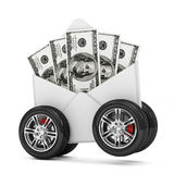 Envelope with Dollar Bills on Wheels Stock Images