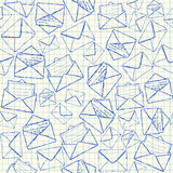 Envelope doodles seamless pattern. Illustration of envelope doodles on squared school paper, seamless pattern Stock Images