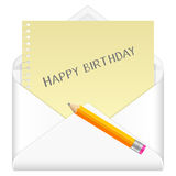 Envelope with drawing happy birthday Stock Photo