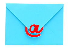 An envelope with an e-mail sign Stock Image