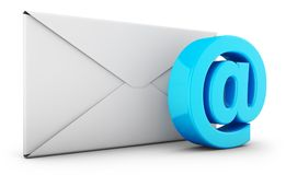 Envelope and email. Sign on a white background. 3d rendering Stock Photos
