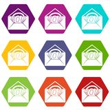 Envelope with email sign icon set color hexahedron Stock Photo