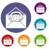Envelope with email sign icons set Stock Photos