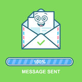 Envelope emoticon. Flat illustration email character design with progress bar. Process of email sending. Text message Stock Photo