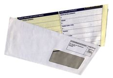 Envelope with empty questionnaire form, isolated, Royalty Free Stock Photography