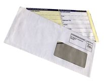 Envelope with empty questionnaire form, isolated, Stock Image