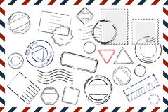 Envelope With Empty Stamps Composition Royalty Free Stock Photos