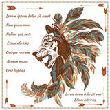 Envelope in ethnic style image of the wolf with feathers, arrows. Colorful invitation card, envelope in ethnic style. The modern concept of the image of a wolf Stock Photography