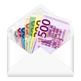 Envelope and euro banknotes. Open envelope containing euro banknotes on a white background Royalty Free Illustration