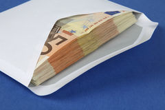 Envelope with euro bills Stock Images