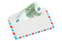 Envelope with 100 euro, 3D rendering. On white background Stock Illustration