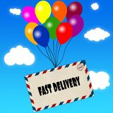 Envelope with FAST DELIVERY message attached to multicoloured balloons on blue sky and clouds background. Illustration Stock Image