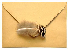 Envelope and feather Royalty Free Stock Photos