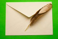 Envelope and feather Royalty Free Stock Photo