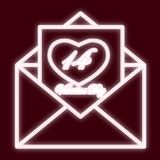 An envelope 14 Feb. Icon with the effect of neon glow. The symbol of Valentine s Day. Vector image Vector Illustration