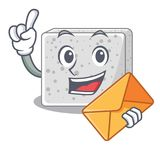 With envelope feta cheese pieces character royalty free illustration