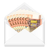 Envelope and fifty euro banknotes. Open envelope containing fifty euro banknotes on a white background Stock Images