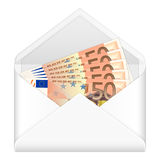 Envelope and fifty euro banknotes. Open envelope containing fifty euro banknotes on a white background Royalty Free Stock Image