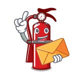 With envelope fire extinguisher character cartoon. Vector illustration Stock Photography