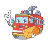 With envelope fire truck character cartoon. Vector illustration Stock Image