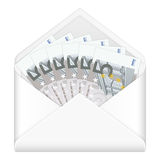 Envelope and five euro banknotes Stock Images