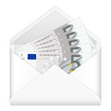 Envelope and five euro banknotes Stock Photo
