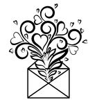 Envelope with floral design and hearts, the symbol Royalty Free Stock Images