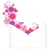 Envelope with flowers Stock Photography