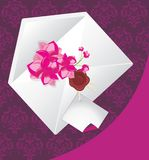 Envelope with flowers on the decorative background Stock Images