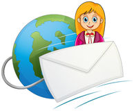 An envelope in front of the smiling girl with a globe at the bac Royalty Free Stock Photos