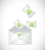 Envelope full of emails illustration design. Over a white background vector illustration