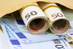 Envelope full of euro cash Royalty Free Stock Images