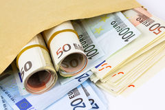 Envelope full of euro cash Stock Image