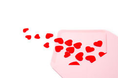 Envelope full of hearts Royalty Free Stock Image