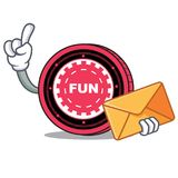 With envelope FunFair coin character cartoon. Vector illustration Royalty Free Stock Image