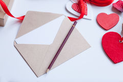 Envelope and gifts for wrapping Stock Images