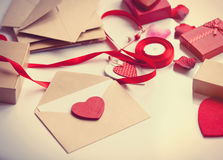 Envelope and gifts for wrapping Stock Photography