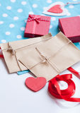 Envelope and gifts for wrapping Stock Photo