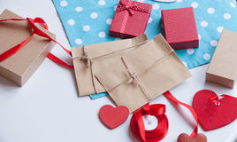 Envelope and gifts for wrapping Stock Image