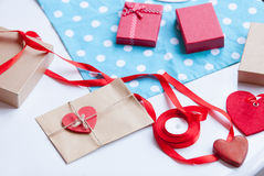 Envelope and gifts for wrapping Royalty Free Stock Image