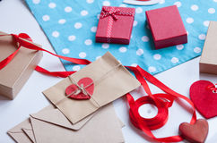 Envelope and gifts for wrapping Royalty Free Stock Photo